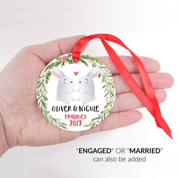 Bunny Rabbit Couple Personalized Christmas Ornament - Married or Engaged Customization - Round Aluminum - Size Shown in Hand - by Happy Cat Prints