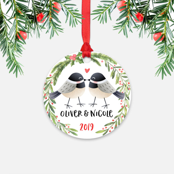 Chickadee Bird Couple Personalized Christmas Ornament - Holidays Custom Gift for Animal Lover Wedding Engagement Newlyweds Wife Husband Boyfriend Girlfriend - Round Aluminum - Red Ribbon Hanging in Tree - by Happy Cat Prints
