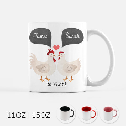 Personalized Chicken Rooster Hen Couple Ceramic Coffee Mug for Animal Lover - By Happy Cat Prints