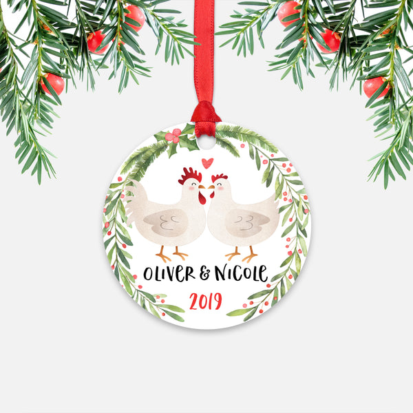 Chicken Rooster Hen Couple Personalized Christmas Ornament - Holidays Custom Gift for Farm Animal Lover Wedding Engagement Newlyweds Wife Husband Boyfriend Girlfriend - Round Aluminum - Red Ribbon Hanging in Tree - by Happy Cat Prints