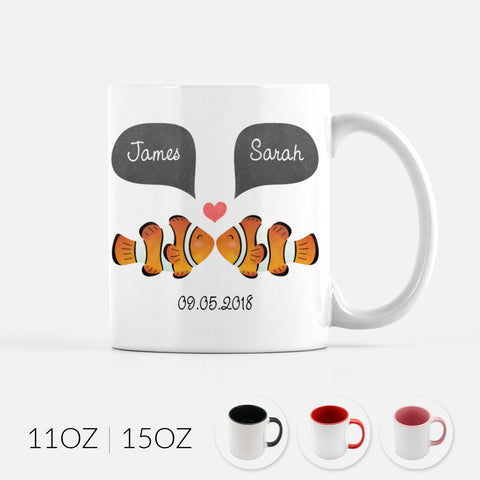 Personalized Clown Fish Clownfish Couple Ceramic Coffee Mug for Animal Lover - By Happy Cat Prints