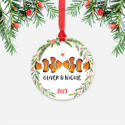 Clownfish Clown Fish Couple Personalized Christmas Ornament - Holidays Custom Gift for Animal Lover Wedding Engagement Newlyweds Wife Husband Boyfriend Girlfriend - Round Aluminum - Red Ribbon Hanging in Tree - by Happy Cat Prints