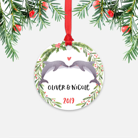 Dolphin Couple Personalized Christmas Ornament - Holidays Custom Gift for Animal Lover Wedding Engagement Newlyweds Wife Husband Boyfriend Girlfriend - Round Aluminum - Red Ribbon Hanging in Tree - by Happy Cat Prints