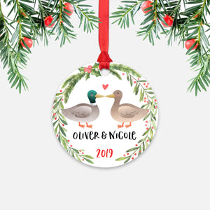 Mallard Duck Couple Personalized Christmas Ornament - Holidays Custom Gift for Animal Lover Wedding Engagement Newlyweds Wife Husband Boyfriend Girlfriend - Round Aluminum - Red Ribbon Hanging in Tree - by Happy Cat Prints