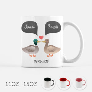 Personalized Duck Couple Ceramic Coffee Mug for Animal Lover - By Happy Cat Prints