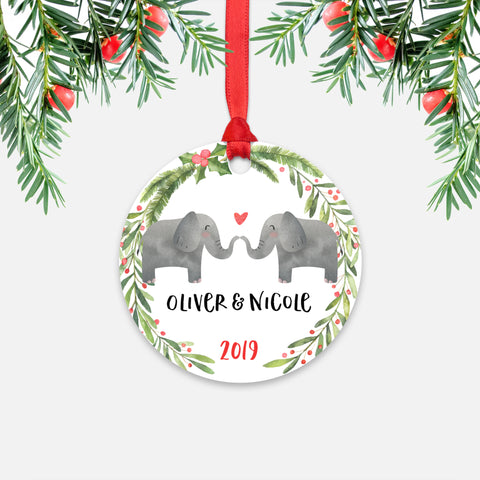 Elephant Couple Personalized Christmas Ornament - Holidays Custom Gift for Animal Lover Wedding Engagement Newlyweds Wife Husband Boyfriend Girlfriend - Round Aluminum - Red Ribbon Hanging in Tree - by Happy Cat Prints