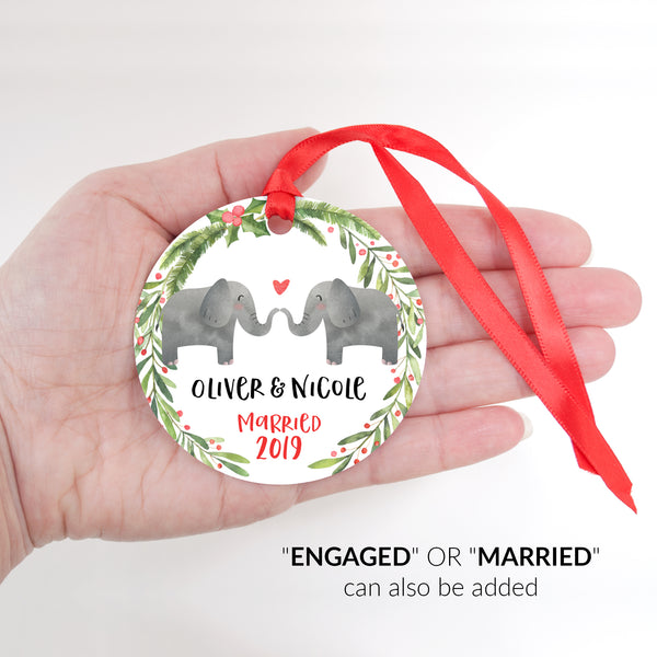 Elephant Couple Personalized Christmas Ornament - Married or Engaged Customization - Round Aluminum - Size Shown in Hand - by Happy Cat Prints
