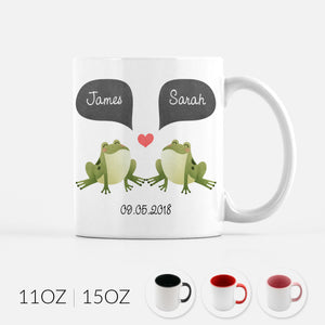 Personalized Frog Couple Ceramic Coffee Mug for Animal Lover - By Happy Cat Prints