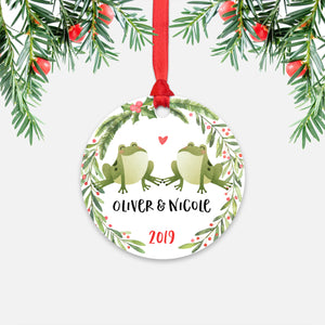 Frog Couple Personalized Christmas Ornament - Holidays Custom Gift for Animal Lover Wedding Engagement Newlyweds Wife Husband Boyfriend Girlfriend - Round Aluminum - Red Ribbon Hanging in Tree - by Happy Cat Prints