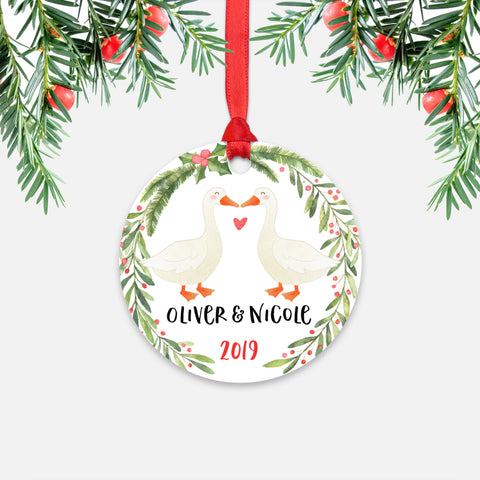 Goose Geese Couple Personalized Christmas Ornament - Holidays Custom Gift for Animal Lover Wedding Engagement Newlyweds Wife Husband Boyfriend Girlfriend - Round Aluminum - Red Ribbon Hanging in Tree - by Happy Cat Prints