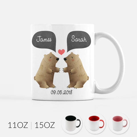 Personalized Grizzly Bear Couple Ceramic Coffee Mug for Animal Lover - By Happy Cat Prints