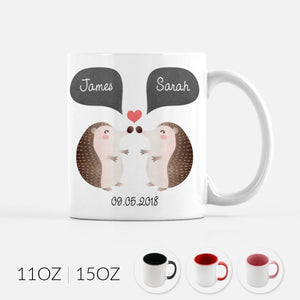 Personalized Hedgehog Couple Ceramic Coffee Mug for Animal Lover - By Happy Cat Prints