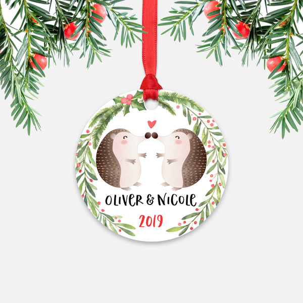 Hedgehog Couple Personalized Christmas Ornament - Holidays Custom Gift for Animal Lover Wedding Engagement Newlyweds Wife Husband Boyfriend Girlfriend - Round Aluminum - Red Ribbon Hanging in Tree - by Happy Cat Prints