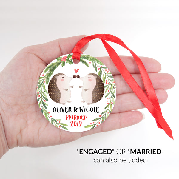 Hedgehog Couple Personalized Christmas Ornament - Married or Engaged Customization - Round Aluminum - Size Shown in Hand - by Happy Cat Prints