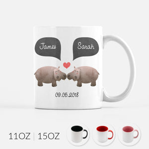 Personalized Hippo Hippopotamus Couple Ceramic Coffee Mug for Animal Lover - By Happy Cat Prints