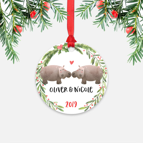 Hippo Hippopotamus Couple Personalized Christmas Ornament - Holidays Custom Gift for Animal Lover Wedding Engagement Newlyweds Wife Husband Boyfriend Girlfriend - Round Aluminum - Red Ribbon Hanging in Tree - by Happy Cat Prints