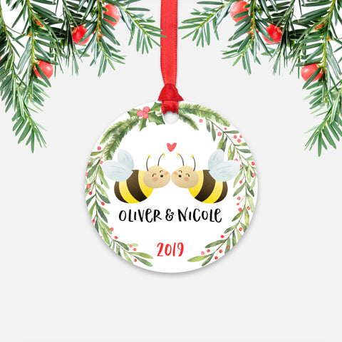 Honey Bee Couple Personalized Christmas Ornament - Holidays Custom Gift for Animal Lover Wedding Engagement Newlyweds Wife Husband Boyfriend Girlfriend - Round Aluminum - Red Ribbon Hanging in Tree - by Happy Cat Prints