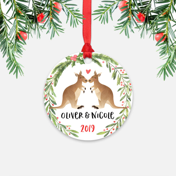 Kangaroo Couple Personalized Christmas Ornament - Holidays Custom Gift for Animal Lover Wedding Engagement Newlyweds Wife Husband Boyfriend Girlfriend - Round Aluminum - Red Ribbon Hanging in Tree - by Happy Cat Prints