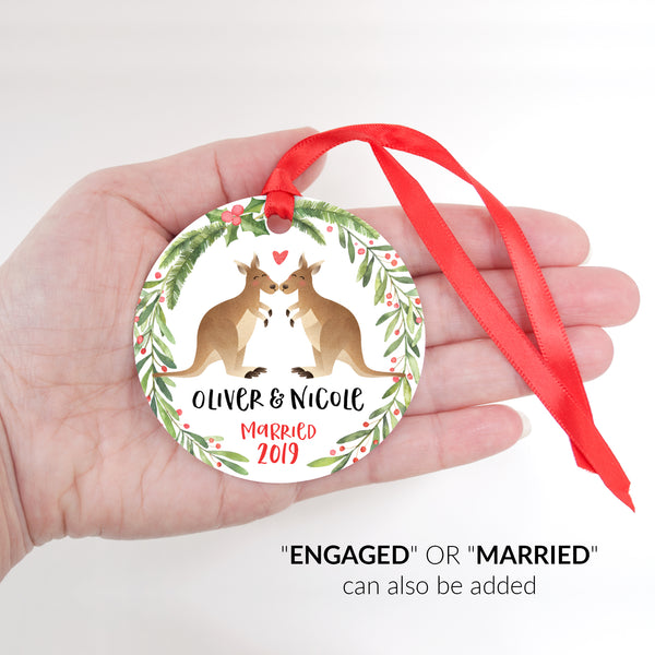 Kangaroo Couple Personalized Christmas Ornament - Married or Engaged Customization - Round Aluminum - Size Shown in Hand - by Happy Cat Prints