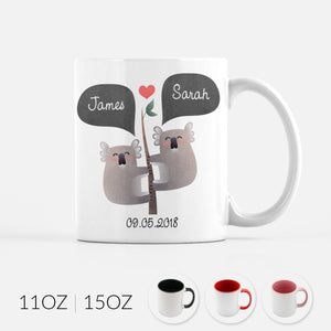 Personalized Koala Bear Couple Ceramic Coffee Mug for Animal Lover - By Happy Cat Prints