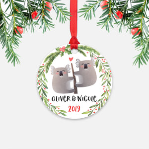Koala Bear Couple Personalized Christmas Ornament - Holidays Custom Gift for Animal Lover Wedding Engagement Newlyweds Wife Husband Boyfriend Girlfriend - Round Aluminum - Red Ribbon Hanging in Tree - by Happy Cat Prints