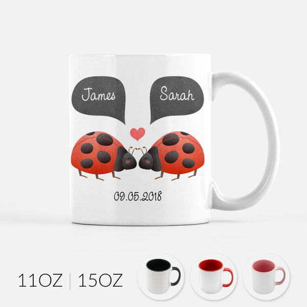 Personalized Ladybug Ladybird Beetle Couple Ceramic Coffee Mug for Animal Lover - By Happy Cat Prints