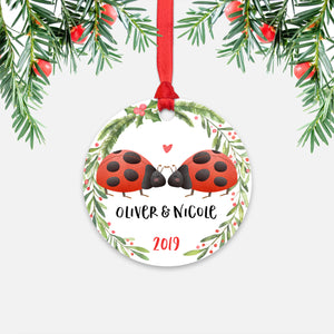 Ladybug Couple Personalized Christmas Ornament - Holidays Custom Gift for Animal Lover Wedding Engagement Newlyweds Wife Husband Boyfriend Girlfriend - Round Aluminum - Red Ribbon Hanging in Tree - by Happy Cat Prints