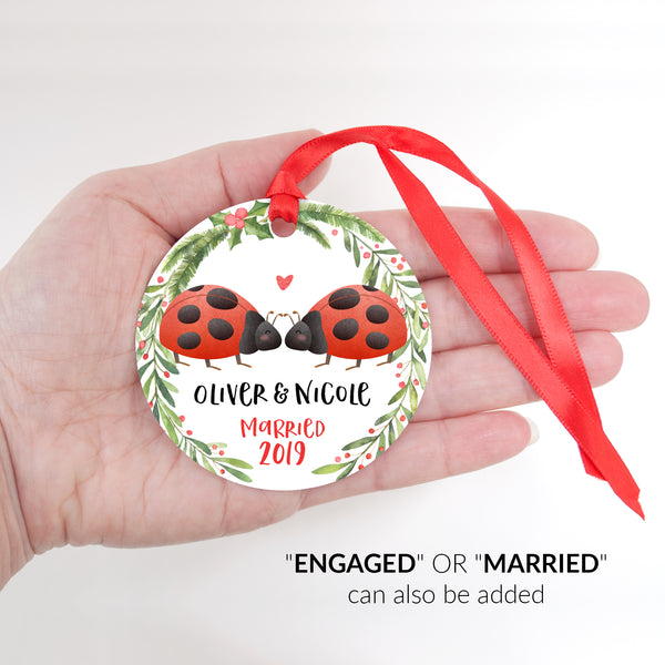 Ladybug Couple Personalized Christmas Ornament - Married or Engaged Customization - Round Aluminum - Size Shown in Hand - by Happy Cat Prints