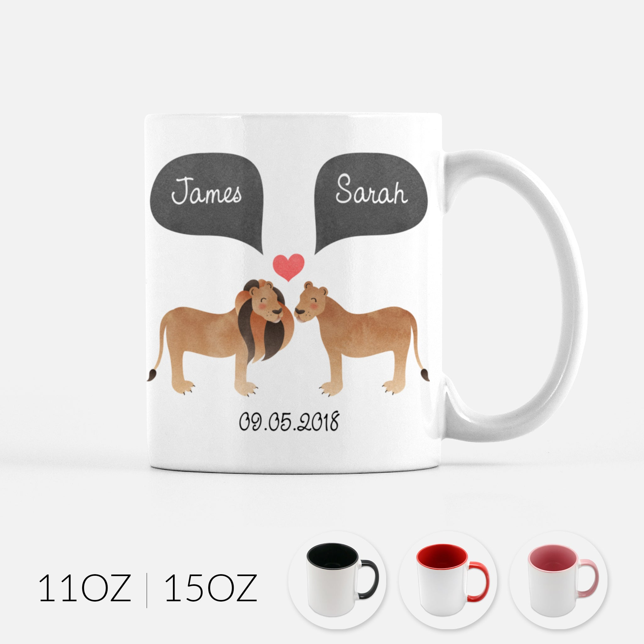 Personalized Lion Lioness Couple Ceramic Coffee Mug for Animal Lover - By Happy Cat Prints