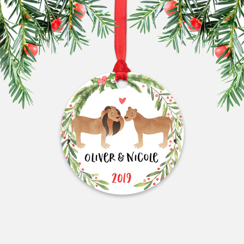 Lion Lioness Couple Personalized Christmas Ornament - Holidays Custom Gift for Animal Lover Wedding Engagement Newlyweds Wife Husband Boyfriend Girlfriend - Round Aluminum - Red Ribbon Hanging in Tree - by Happy Cat Prints