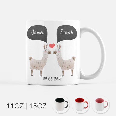 Personalized Llama Alpaca Couple Ceramic Coffee Mug for Animal Lover - By Happy Cat Prints