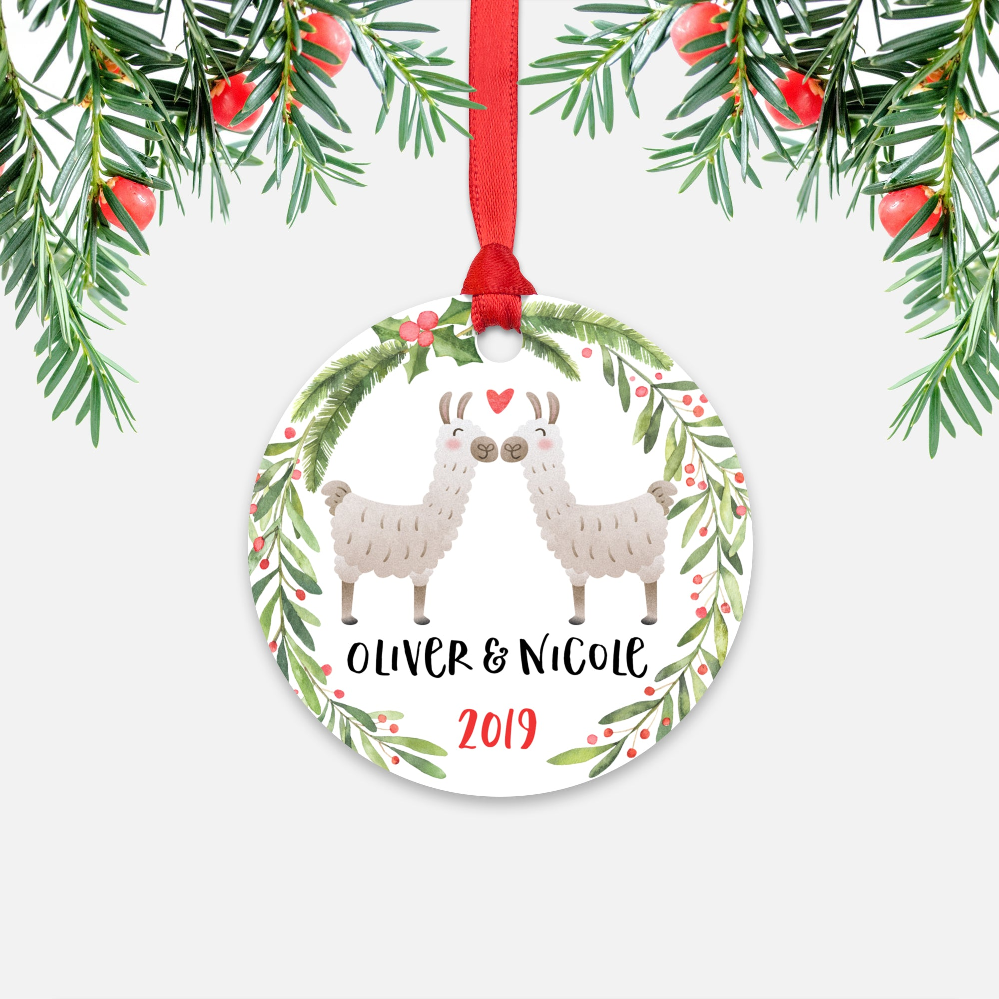 Llama Alpaca Couple Personalized Christmas Ornament - Holidays Custom Gift for Animal Lover Wedding Engagement Newlyweds Wife Husband Boyfriend Girlfriend - Round Aluminum - Red Ribbon Hanging in Tree - by Happy Cat Prints