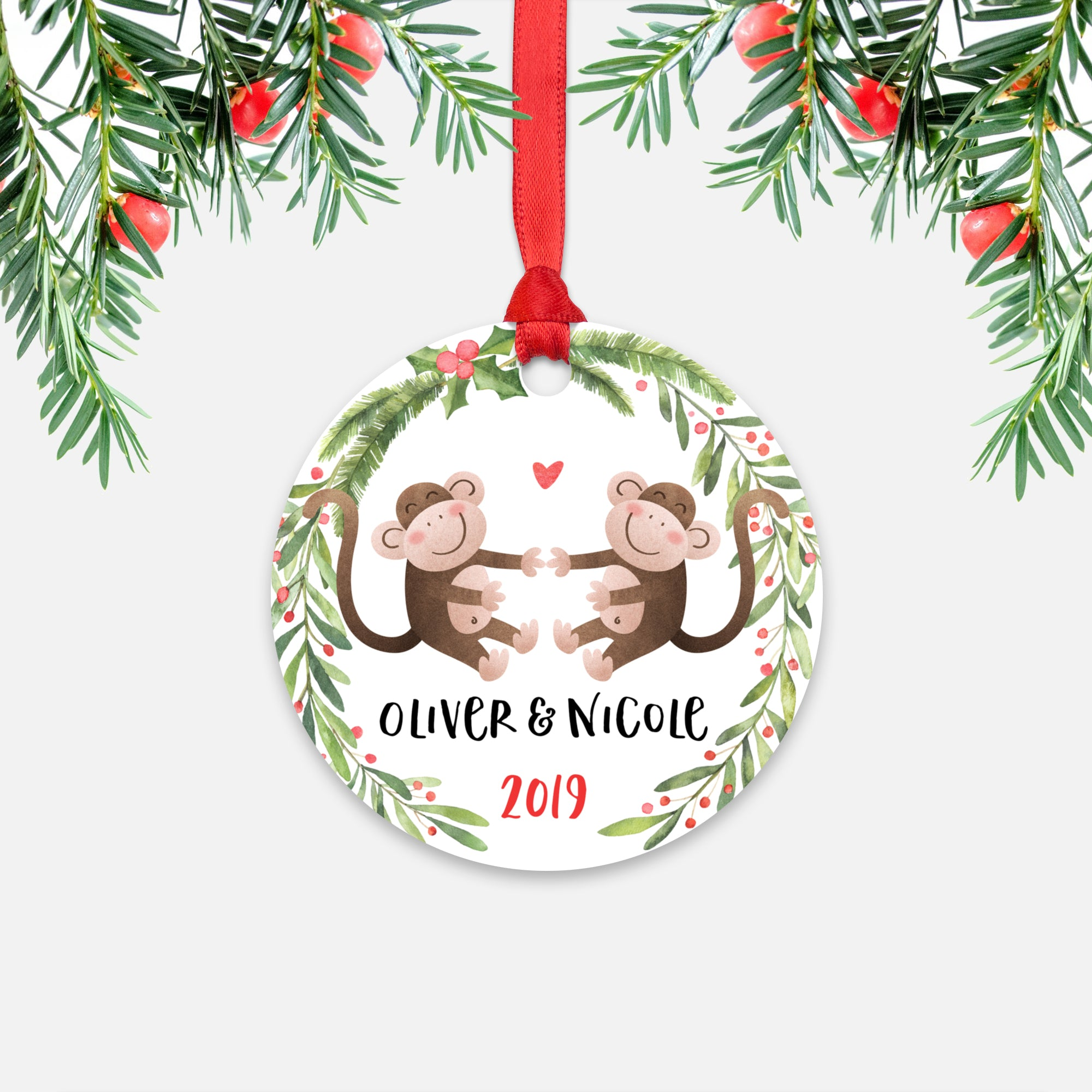 Monkey Couple Personalized Christmas Ornament - Holidays Custom Gift for Animal Lover Wedding Engagement Newlyweds Wife Husband Boyfriend Girlfriend - Round Aluminum - Red Ribbon Hanging in Tree - by Happy Cat Prints