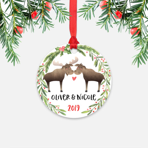 Moose Couple Personalized Christmas Ornament - Holidays Custom Gift for Animal Lover Wedding Engagement Newlyweds Wife Husband Boyfriend Girlfriend - Round Aluminum - Red Ribbon Hanging in Tree - by Happy Cat Prints