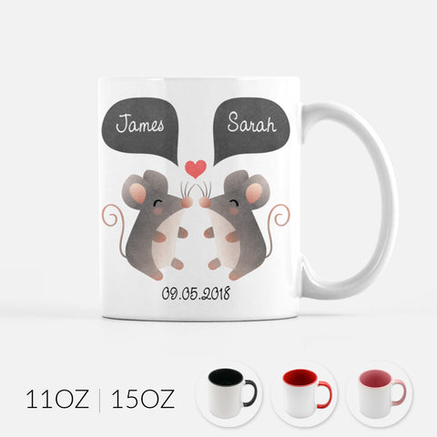 Personalized Mouse Couple Ceramic Coffee Mug for Animal Lover - Cute Unique Valentines Day Christmas Engagement Anniversary Wedding Gift for Her Him Women Men Wife Husband Girlfriend Boyfriend - By Happy Cat Prints