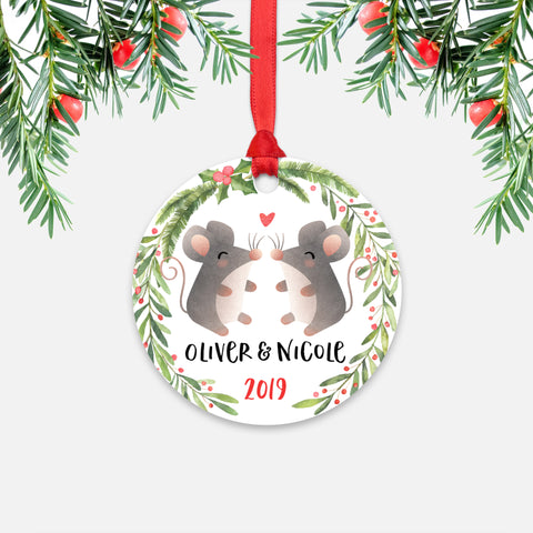Mouse Couple Personalized Christmas Ornament - Holidays Custom Gift for Animal Lover Wedding Engagement Newlyweds Wife Husband Boyfriend Girlfriend - Round Aluminum - Red Ribbon Hanging in Tree - by Happy Cat Prints