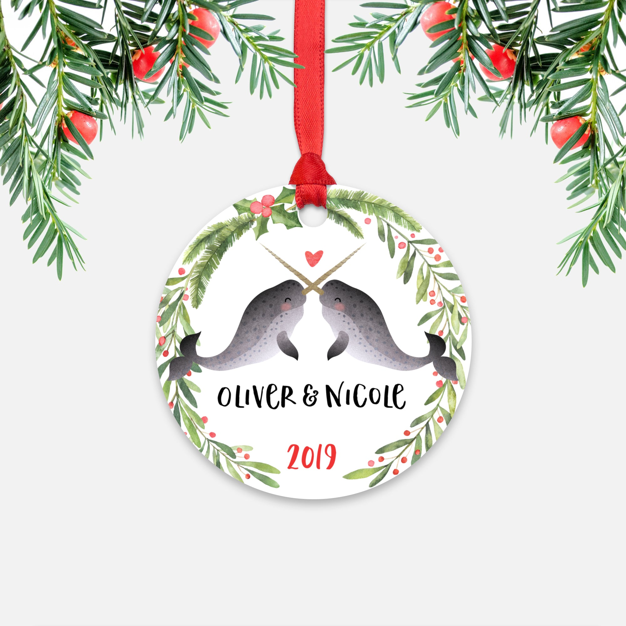 Narwhal Couple Personalized Christmas Ornament - Holidays Custom Gift for Animal Lover Wedding Engagement Newlyweds Wife Husband Boyfriend Girlfriend - Round Aluminum - Red Ribbon Hanging in Tree - by Happy Cat Prints