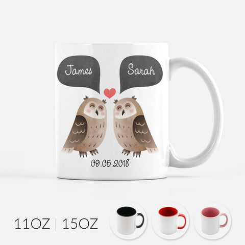 Personalized Owl Couple Ceramic Coffee Mug for Animal Lover - By Happy Cat Prints