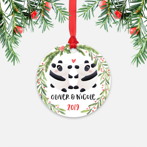 Panda Bear Couple Personalized Christmas Ornament - Holidays Custom Gift for Animal Lover Wedding Engagement Newlyweds Wife Husband Boyfriend Girlfriend - Round Aluminum - Red Ribbon Hanging in Tree - by Happy Cat Prints