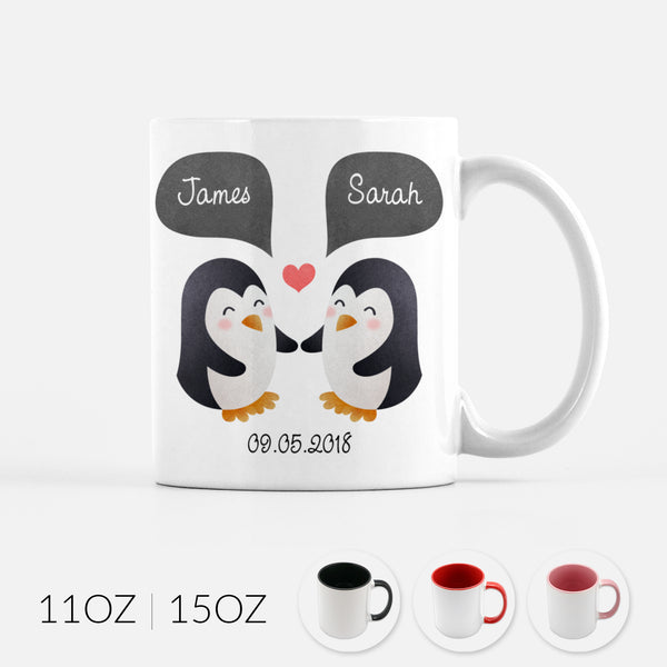 Personalized Penguin Couple Ceramic Coffee Mug for Animal Lover - By Happy Cat Prints