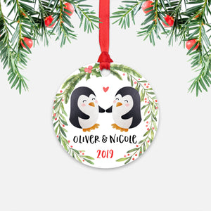 Penguin Couple Personalized Christmas Ornament - Holidays Custom Gift for Animal Lover Wedding Engagement Newlyweds Wife Husband Boyfriend Girlfriend - Round Aluminum - Red Ribbon Hanging in Tree - by Happy Cat Prints
