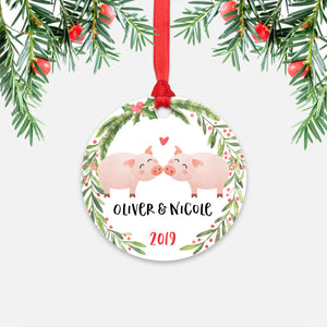 Pig Couple Personalized Christmas Ornament - Holidays Custom Gift for Farm Animal Lover Wedding Engagement Newlyweds Wife Husband Boyfriend Girlfriend - Round Aluminum - Red Ribbon Hanging in Tree - by Happy Cat Prints