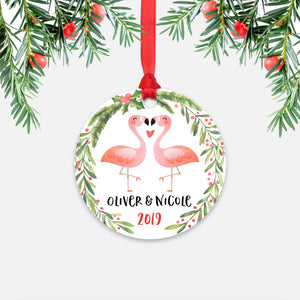 Pink Flamingo Couple Personalized Christmas Ornament - Holidays Custom Gift for Animal Lover Wedding Engagement Newlyweds Wife Husband Boyfriend Girlfriend - Round Aluminum - Red Ribbon Hanging in Tree - by Happy Cat Prints