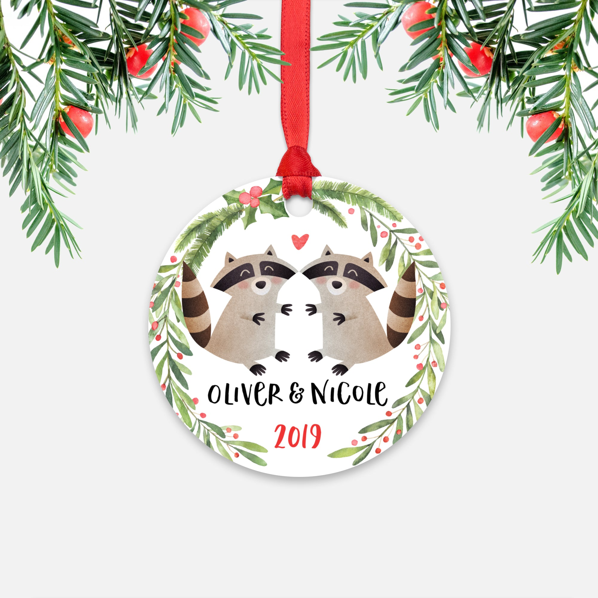 Raccoon Couple Personalized Christmas Ornament - Holidays Custom Gift for Animal Lover Wedding Engagement Newlyweds Wife Husband Boyfriend Girlfriend - Round Aluminum - Red Ribbon Hanging in Tree - by Happy Cat Prints