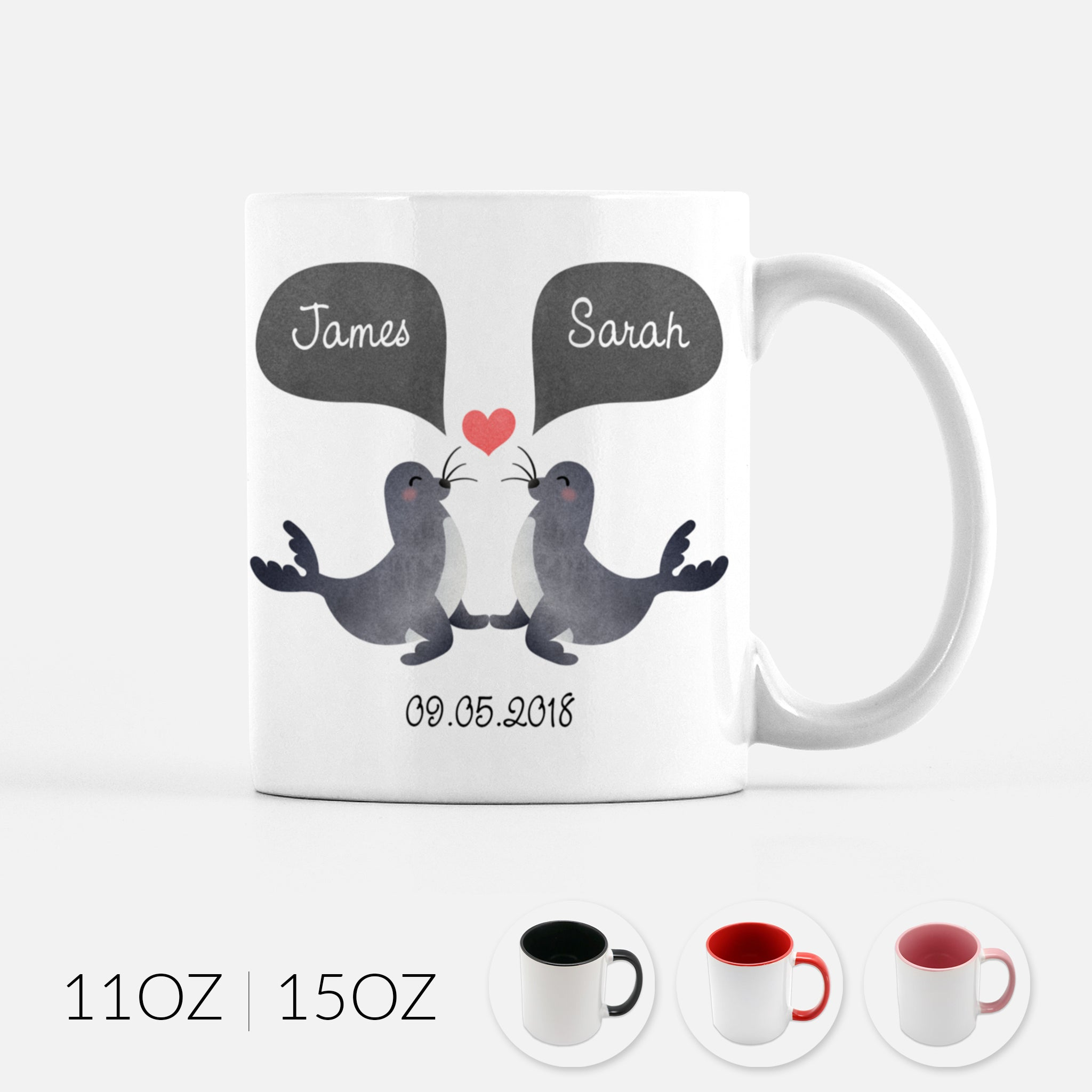 Personalized Seal Sea Lion Couple Ceramic Coffee Mug for Animal Lover - By Happy Cat Prints