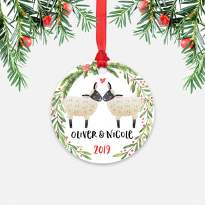 Sheep Lamb Couple Personalized Christmas Ornament - Holidays Custom Gift for Animal Lover Wedding Engagement Newlyweds Wife Husband Boyfriend Girlfriend - Round Aluminum - Red Ribbon Hanging in Tree - by Happy Cat Prints
