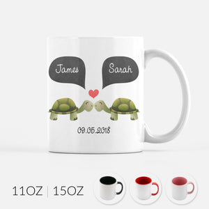 Personalized Turtle Tortoise Couple Ceramic Coffee Mug for Animal Lover - Cute Unique Valentines Day Christmas Engagement Anniversary Wedding Gift for Her Him Women Men Wife Husband Girlfriend Boyfriend - By Happy Cat Prints