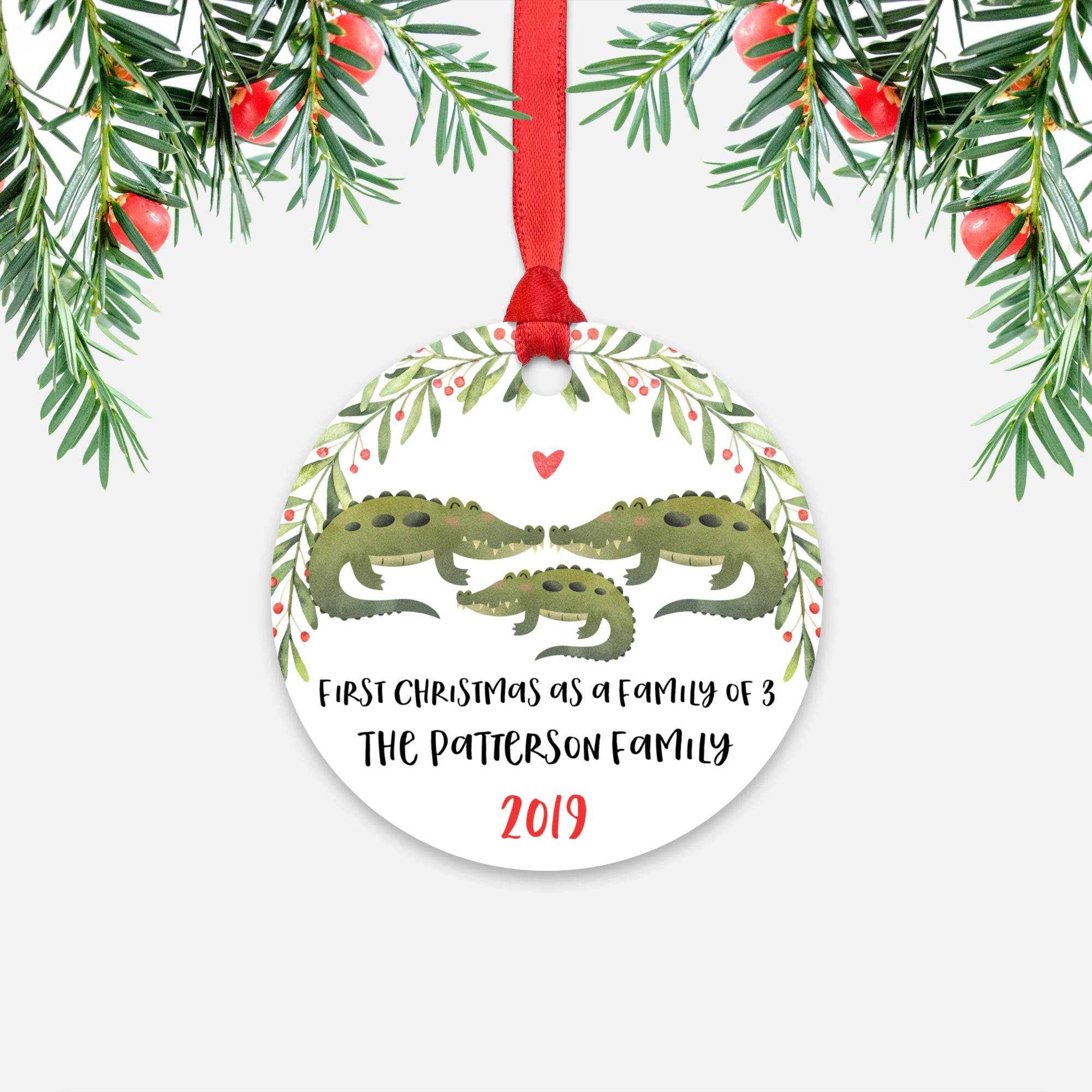 Alligator Crocodile First Christmas as a Family of 3 Three with Baby Boy Girl Personalized Ornament - Cute Animal Baby 1st Holidays Decoration - Custom Christmas Gift Idea for New Parents Mom Dad - Round Aluminum - by Happy Cat Prints