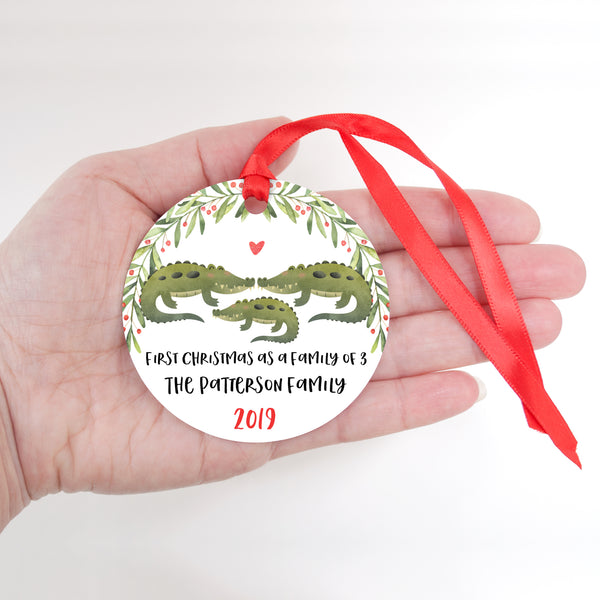Alligator Crocodile Personalized Ornament First Christmas as a Family of 3 Three with Baby Boy or Girl - Animal Baby's 1st Holidays Milestone Decoration Keepsake - Unique Christmas Gift Idea for New Mom New Dad - Round Aluminum - by Happy Cat Prints