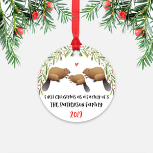 Beaver First Christmas as a Family of 3 Three with Baby Boy Girl Personalized Ornament - Cute Animal Baby 1st Holidays Decoration - Custom Christmas Gift Idea for New Parents Mom Dad - Round Aluminum - by Happy Cat Prints